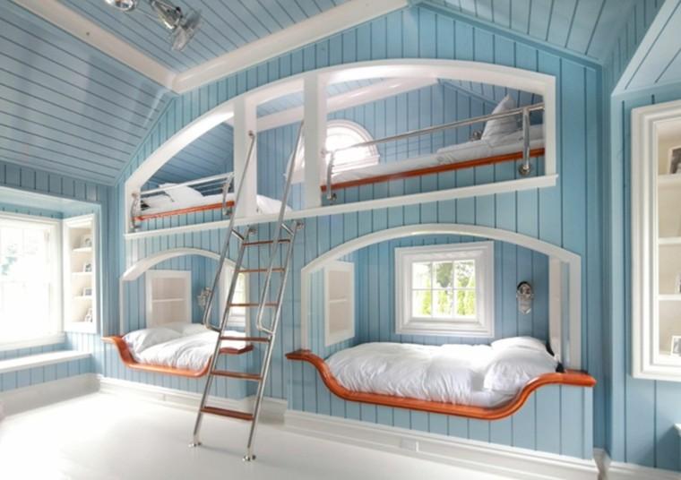 decoracion habitacion infantil azul escaleras