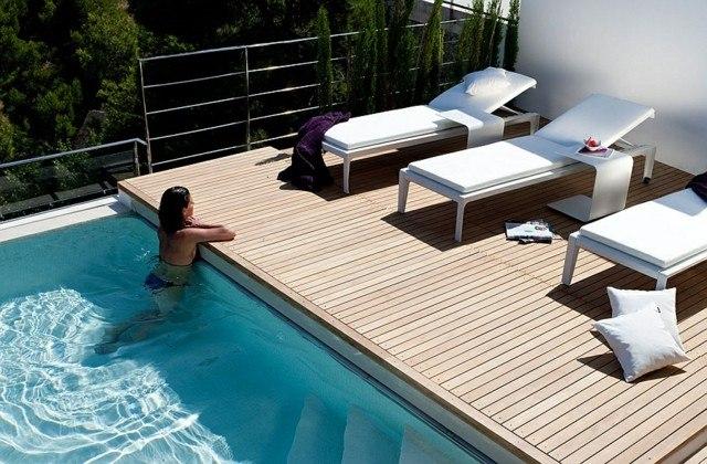 trendy decoracion de jardines con piscina estilo minimalista with decoracion piscinas exteriores - Decoracion De Piscinas