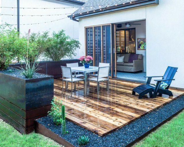 decoración madera patio muebles xeriscape
