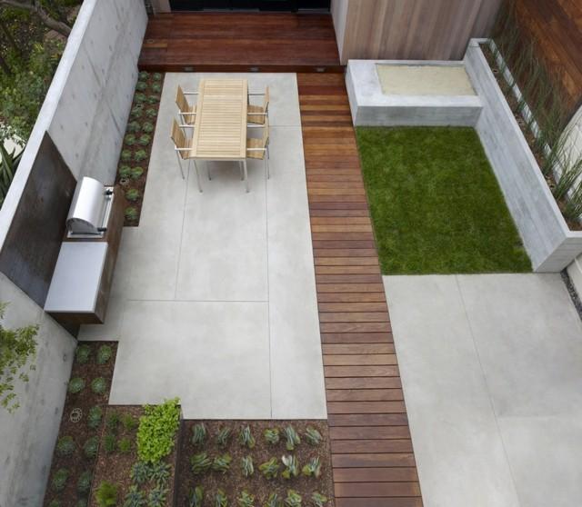 decoración de jardines estilo minimalista pocos muebles