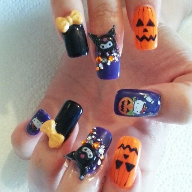 decoracion halloween uñas calabazas lazos amarillos
