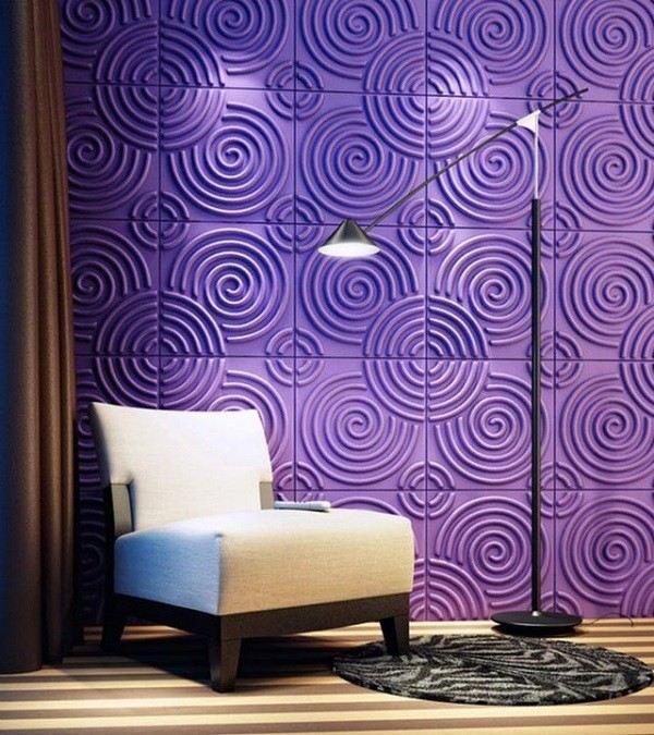decorar paredes caracoles morados relieve