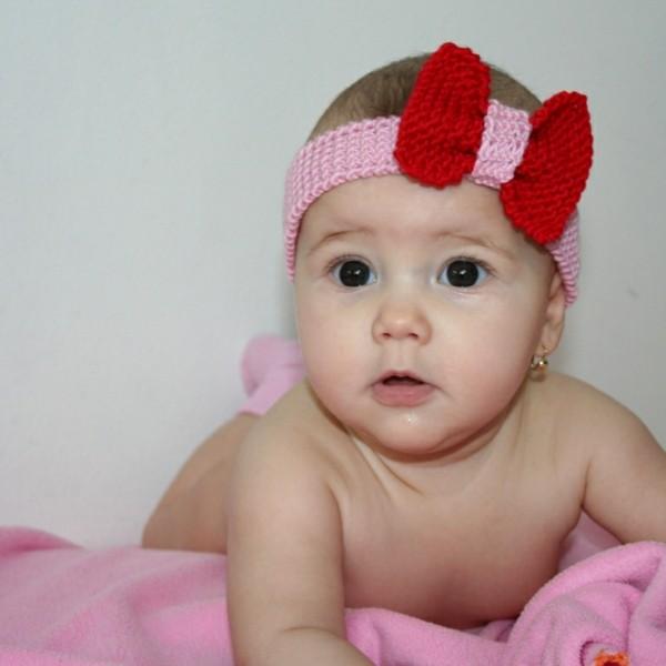 diadema bebe rosa roja lazo