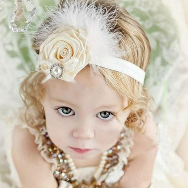 diadema beige flor niña perla