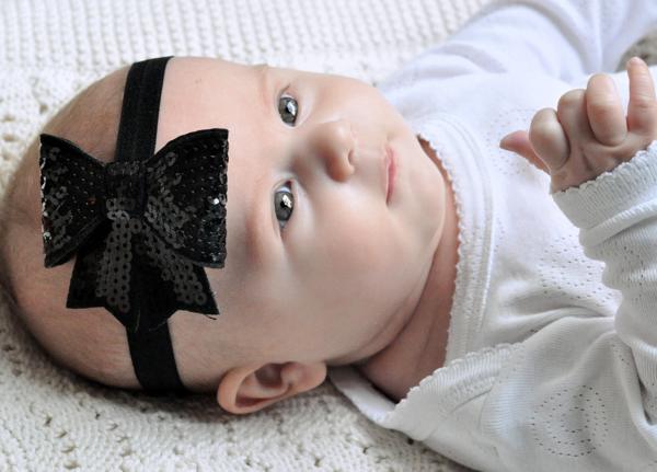 diadema negra lentejuelas bebe