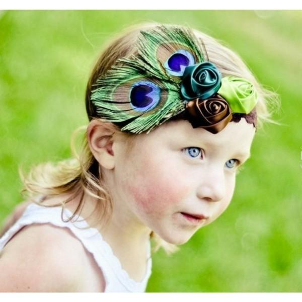 diadema niña pluma pavo real