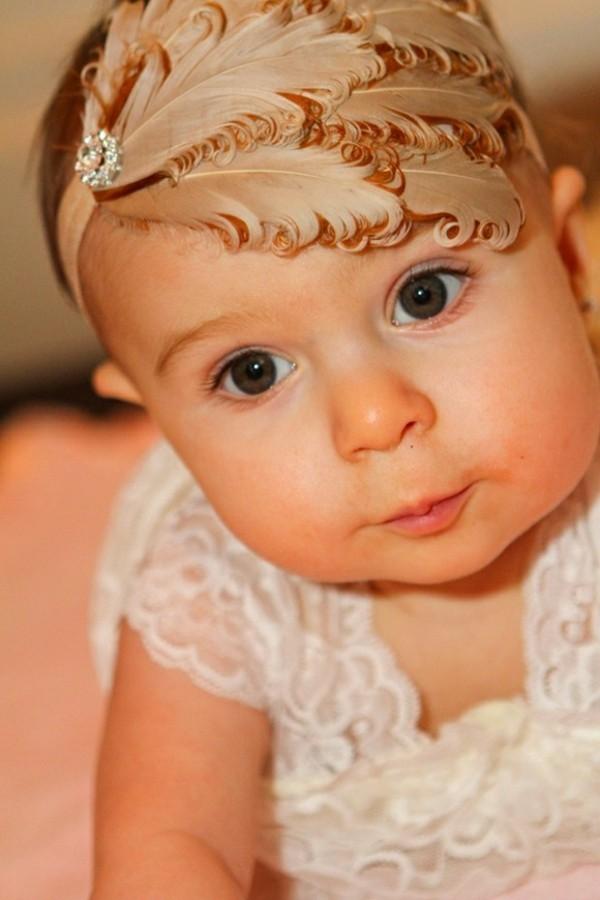 diadema tocado retro bebe marrón