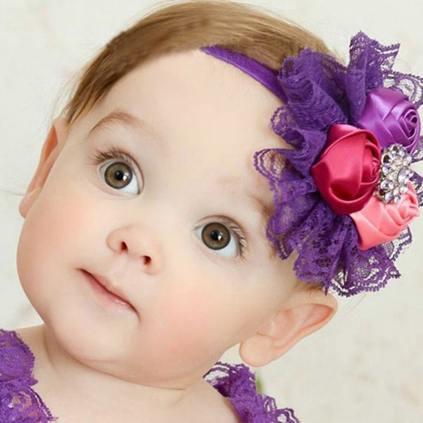 diadema violeta rosas niña