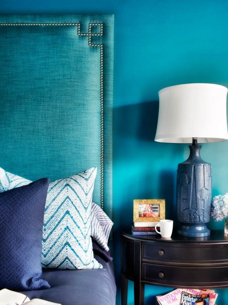 diseño azul decoración dormitorio turquesa