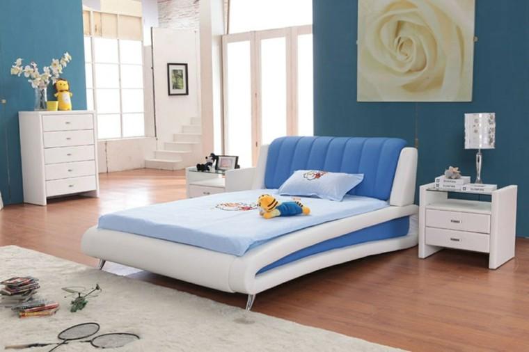 diseño cuarto infantil azul blanco