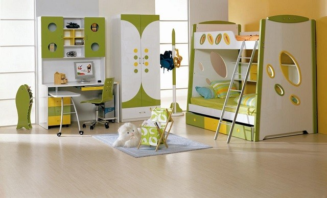 diseño de interiores con colores cálidos cuarto niños mobiliario