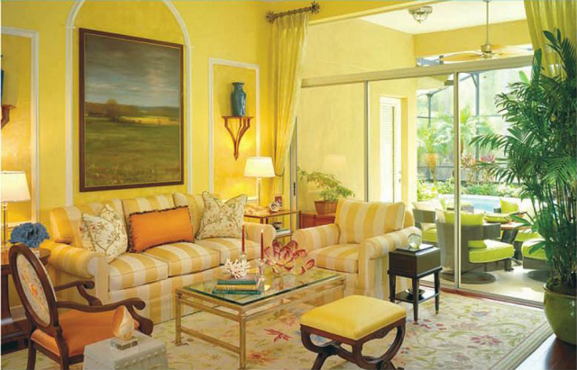 diseño de interiores con colores cálidos salon plantas