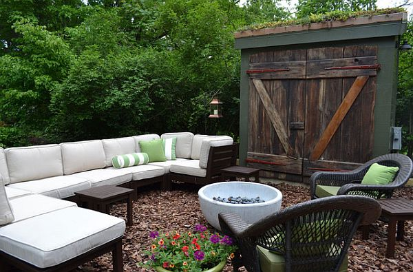 diseño de jardines bancos flores muebles cojines