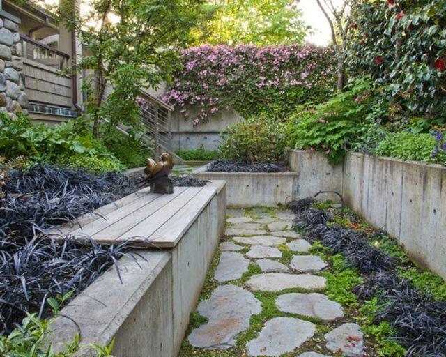 diseño de jardines flores concreto camino