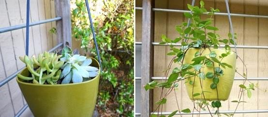 diseño de jardines macetas colgantes rusticas