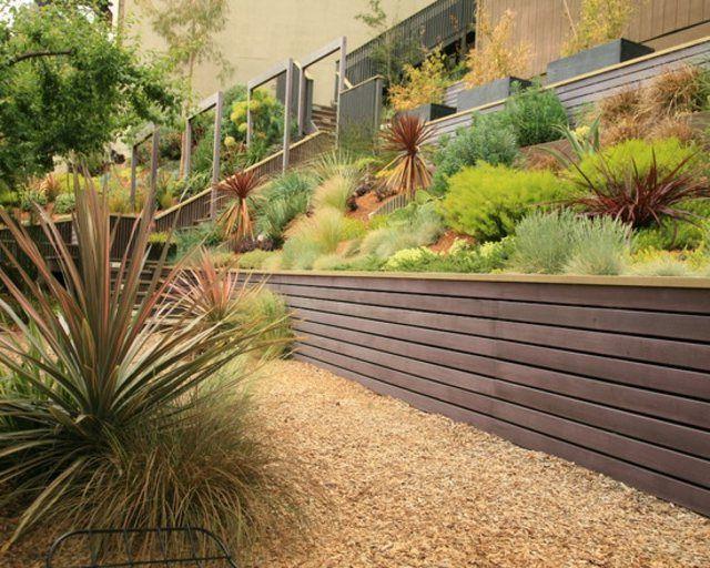 diseño de jardines madera grava suculentas