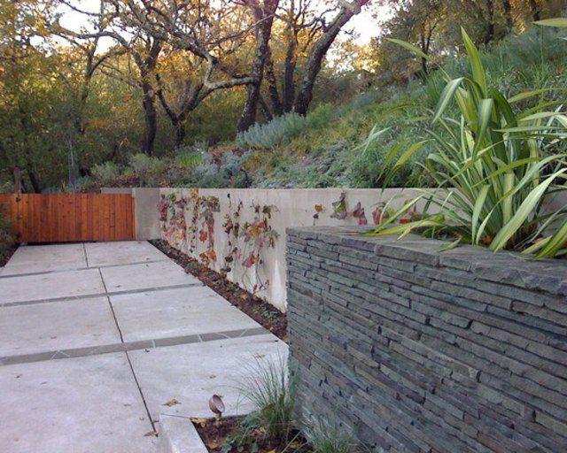 diseño de jardines madera rocas hormigon