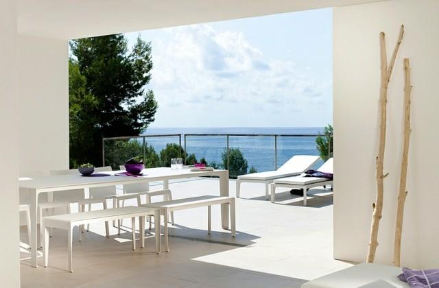 diseño de jardines minimalista color blanco vistas