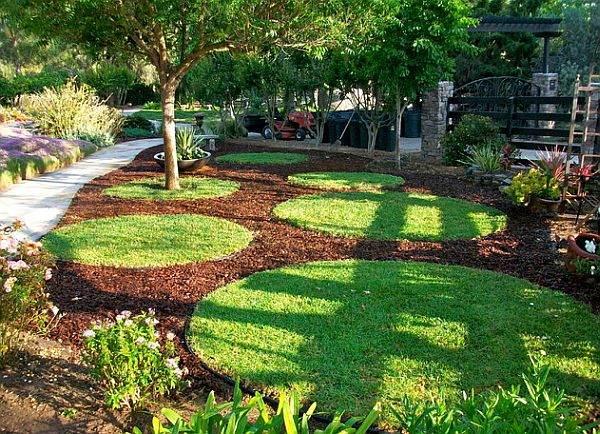 diseño de jardines modernos patio circulos