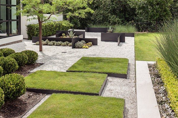 diseño de jardines modernos rocas contenedores