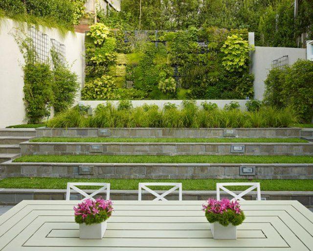 diseño de jardines muro verde hormigon
