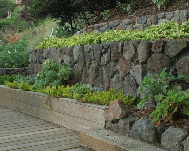 diseño de jardines piedras madera terraza plantas
