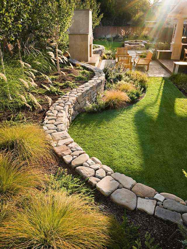 diseño de jardines piedras mobiliario madera