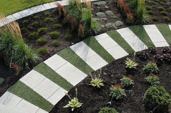 diseño de jardines terraza plantas circular