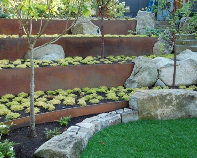 diseño de jardines terrazas contenedores rocas jardineria