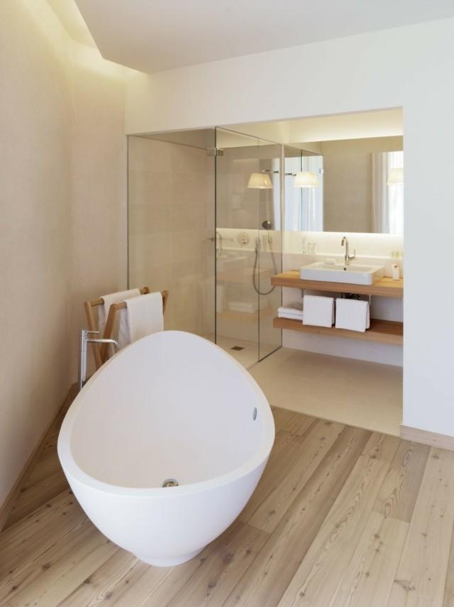 baños de diseño fantastico tina blanca suelo mesada bonito madera