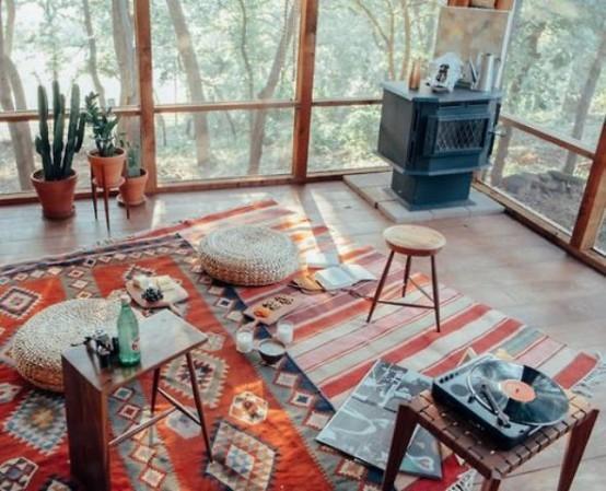 diseño ideas boho terraza luz textiles vivos