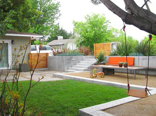 diseño jardin moderno iluminacion sillas