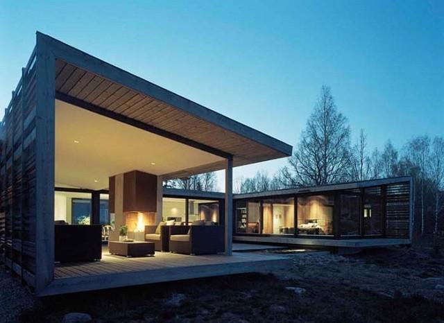 diseño moderno casa terraza hoguera