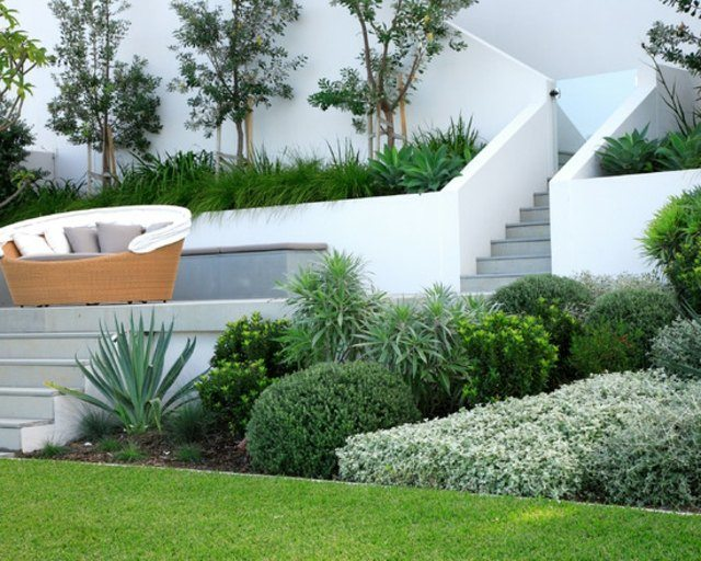 diseño moderno mobiliario plantas exterior