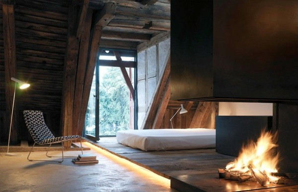 diseño rústico minimalista madera fogata