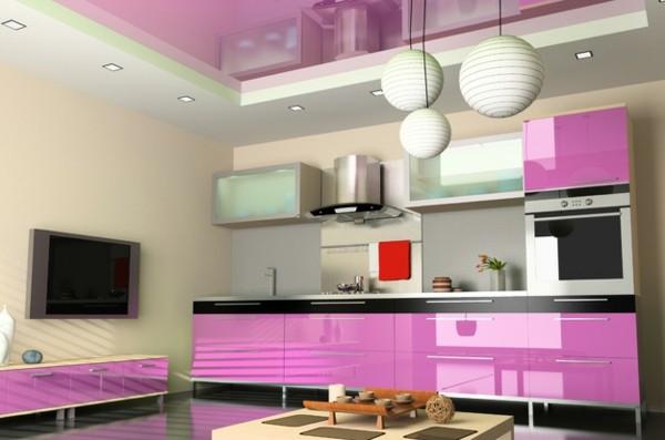 diseño rosa decoración cocina brillo