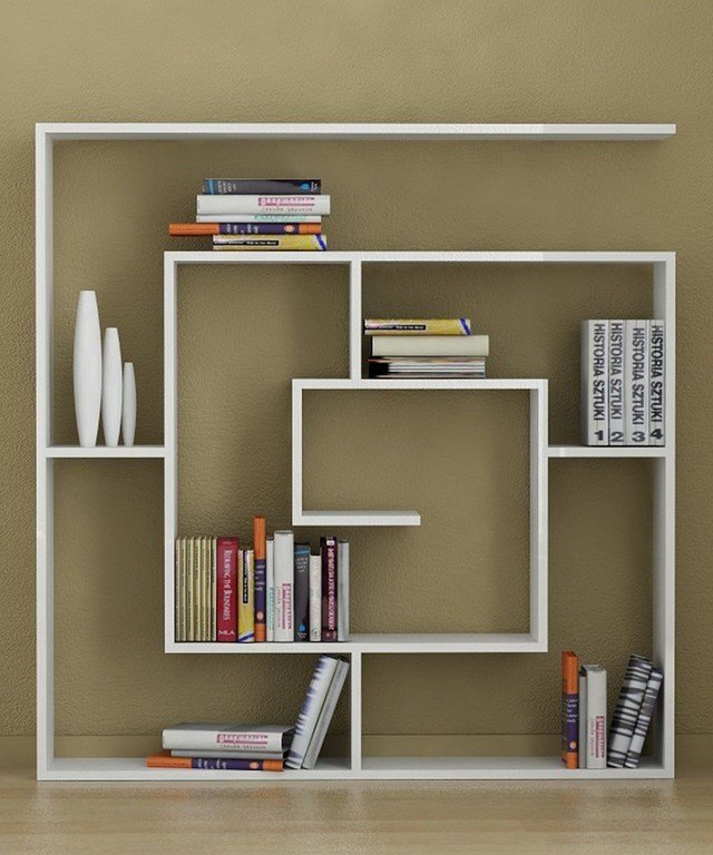 diseo unico salon idea blanco suelo libros
