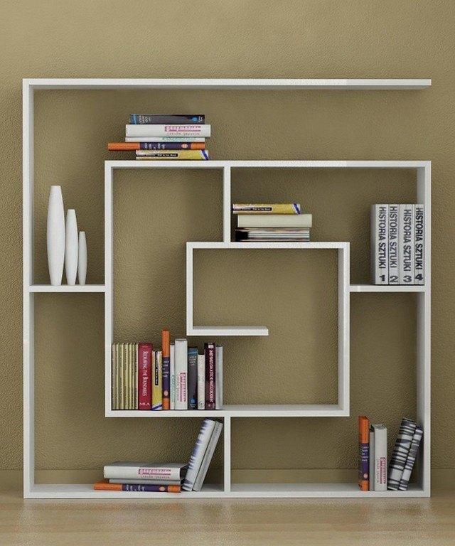 diseño unico salon idea blanco suelo libros