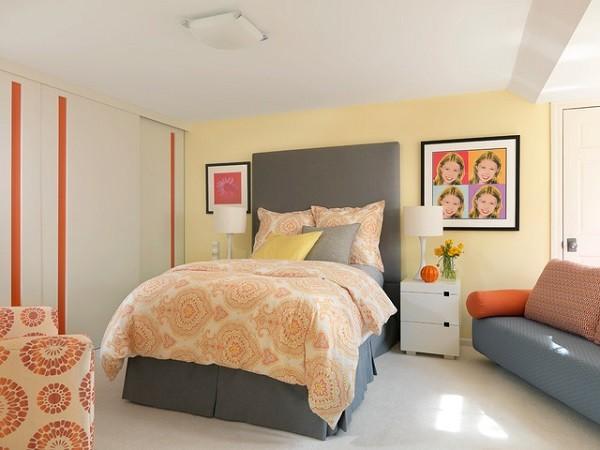 dormitorio adolescente cama alta naranja