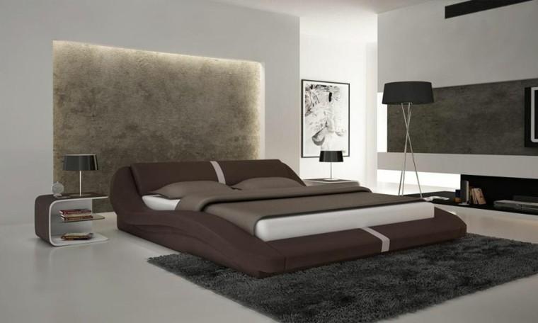 dormitorio cama estupenda marrón alfombra