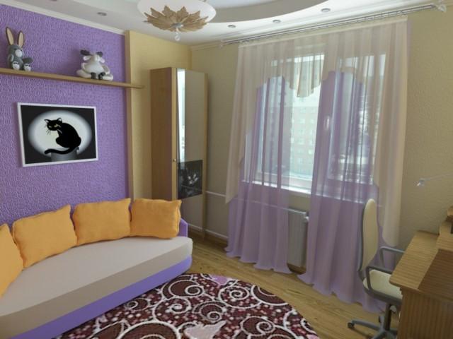 dormitorio chica estrecho comodo purpura moderno