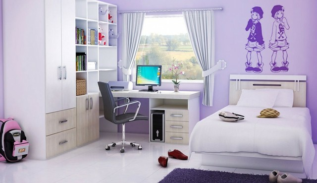 dormitorio chica joven purpura estanterias cama