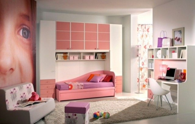 dormitorio chica joven rosa cama zona estudio moderno