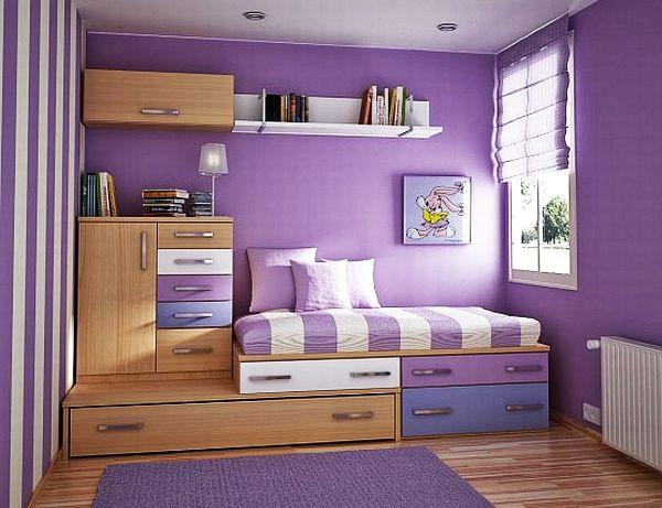 dormitorio chicas jovenes estanterias armarios purpora