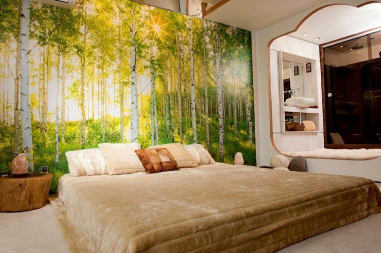 dormitorio diseño papel pared bosque