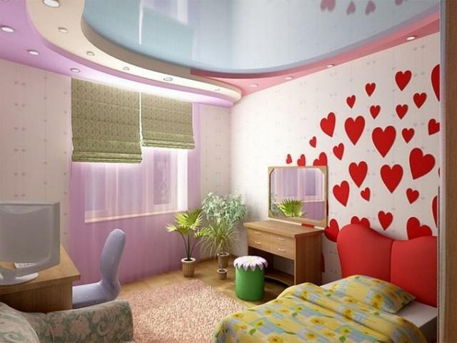 dormitorio estampas corrazones pared estilo juvenil