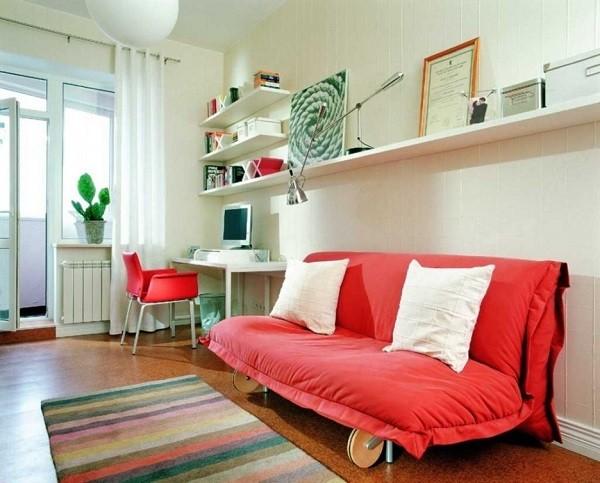 dormitorio jóven cama plegable roja
