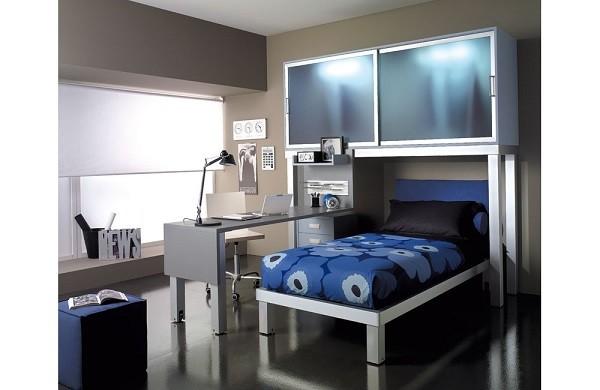 dormitorio jóven color azul metal