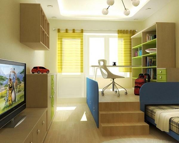 dormitorio jóven escaleras parquet escritorio