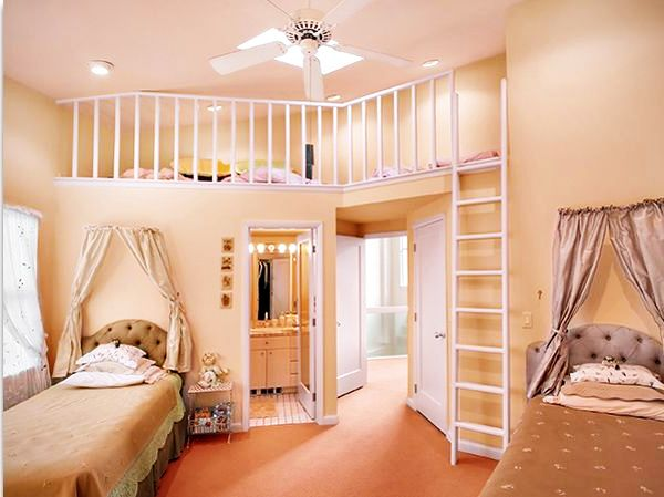 habitaciones  juveniles dos camas color crema